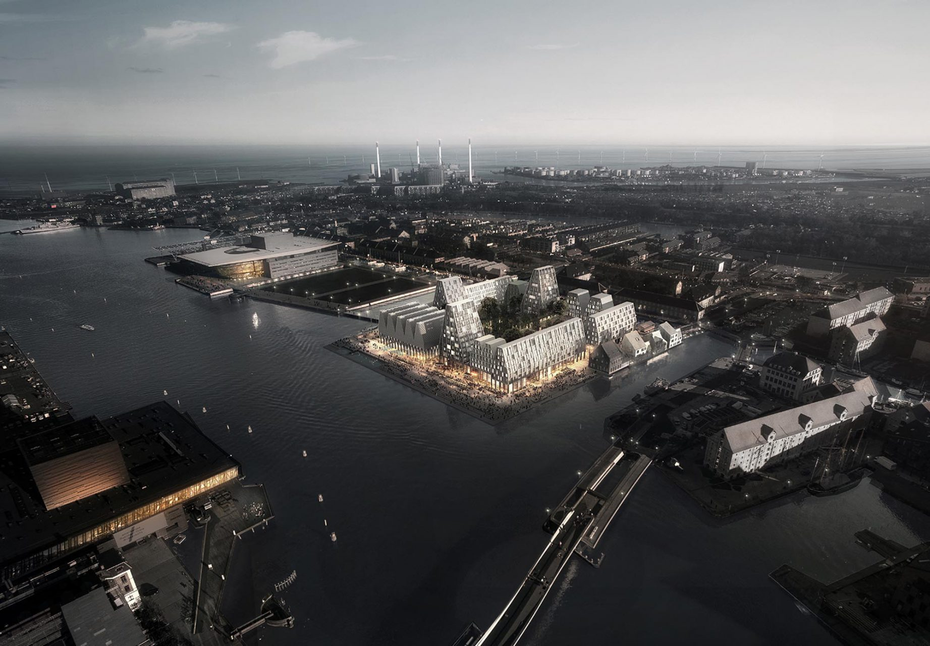 Christiansholm Future Paper Island. Masterplan for Christiansholm island. Christiansholm, also known as The Paper Island having stored huge rolls of newsprint for decades for the Danish press, is uniquely located in the heart of Copenhagen's waterfront. The vision for the project is to create a series of new halls for informal, public functions such as an event hall and a swimming hall. Private housing will be placed on top of the halls which encirles a green and intimate courtyard. The whole island will be flanked by a unifying public promenade.