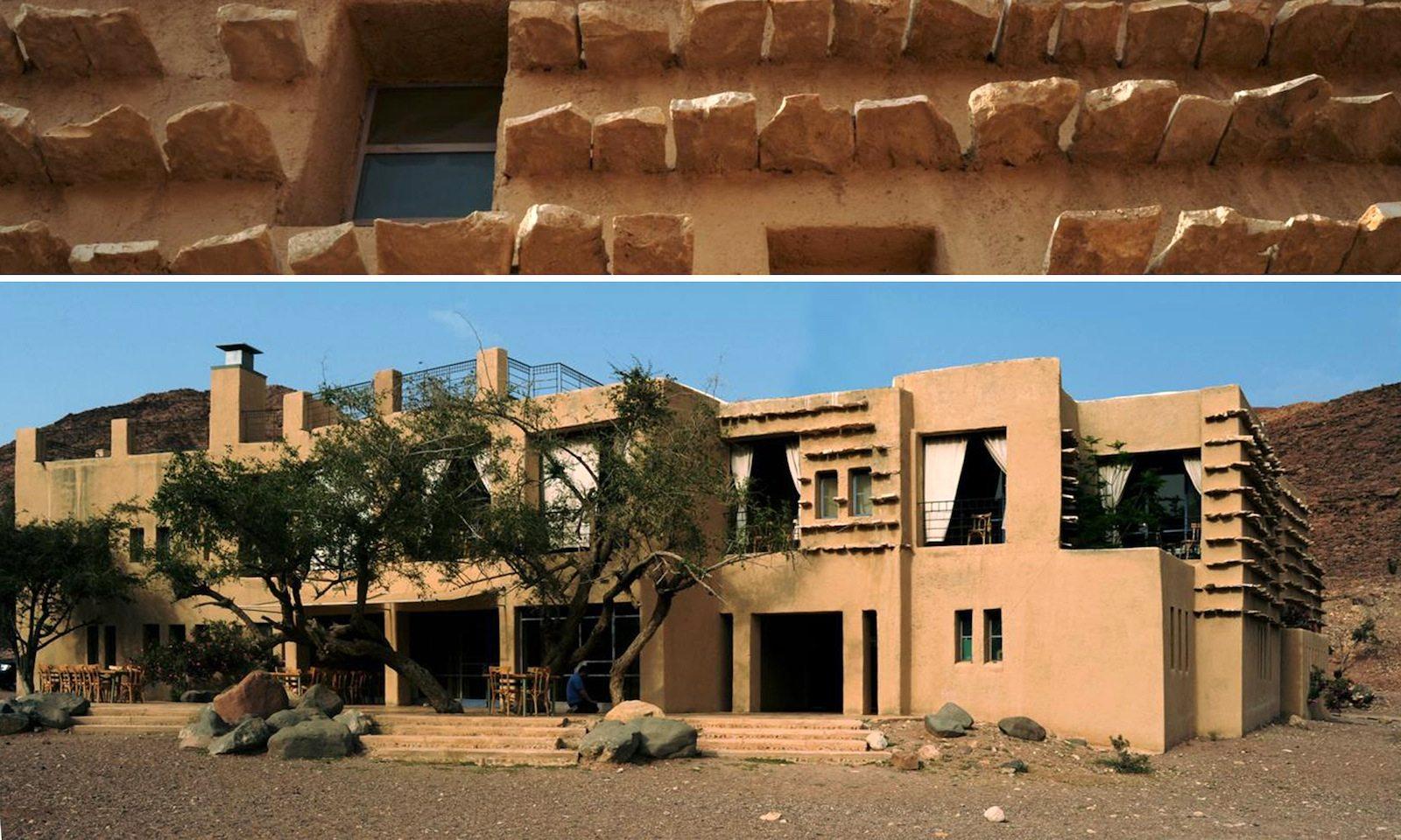Feynan Eco-Lodge. Unterkunft in einem jordanischen Naturreservat mit Lehmwänden und Sonnenbrechern aus Gesteinsplatten