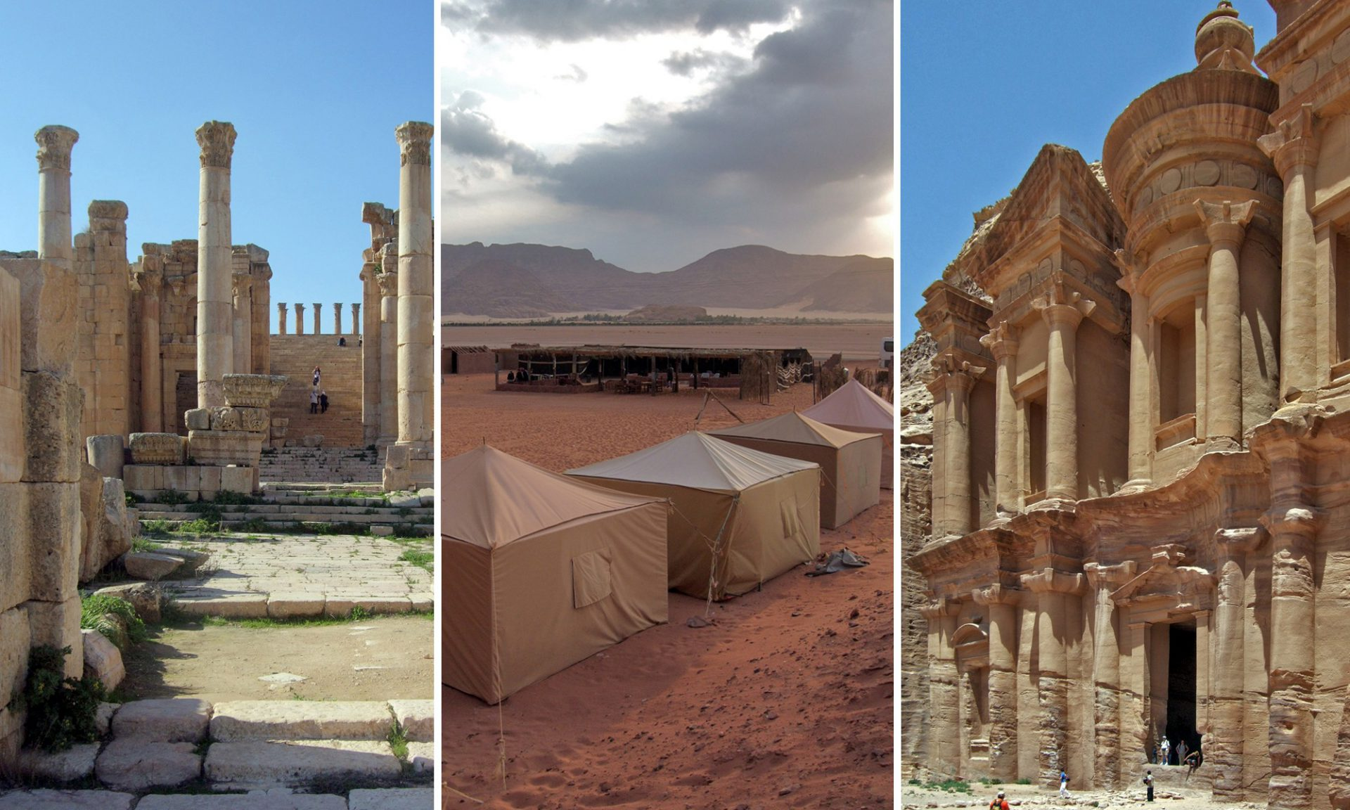 Surreales Jordanien. Die antike Stadt Jerasha, die rote Felsenwüste Wadi Rum und die steinerne Stadt Petra.