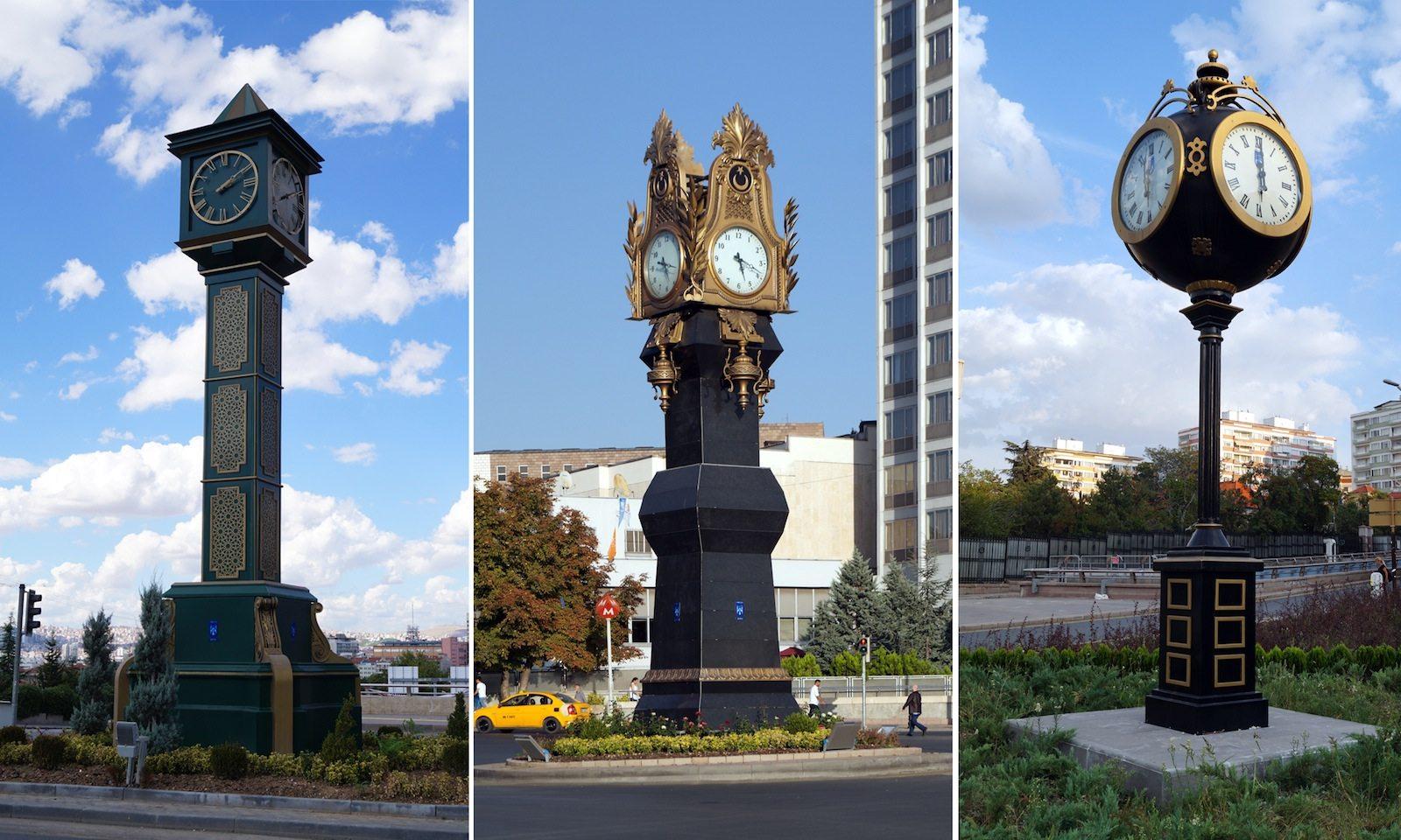 """Wider den modernen Gründungsmythos Ankaras. Neu platzierte Uhrentürme im """"neo-osmanischem"""" Stil."""