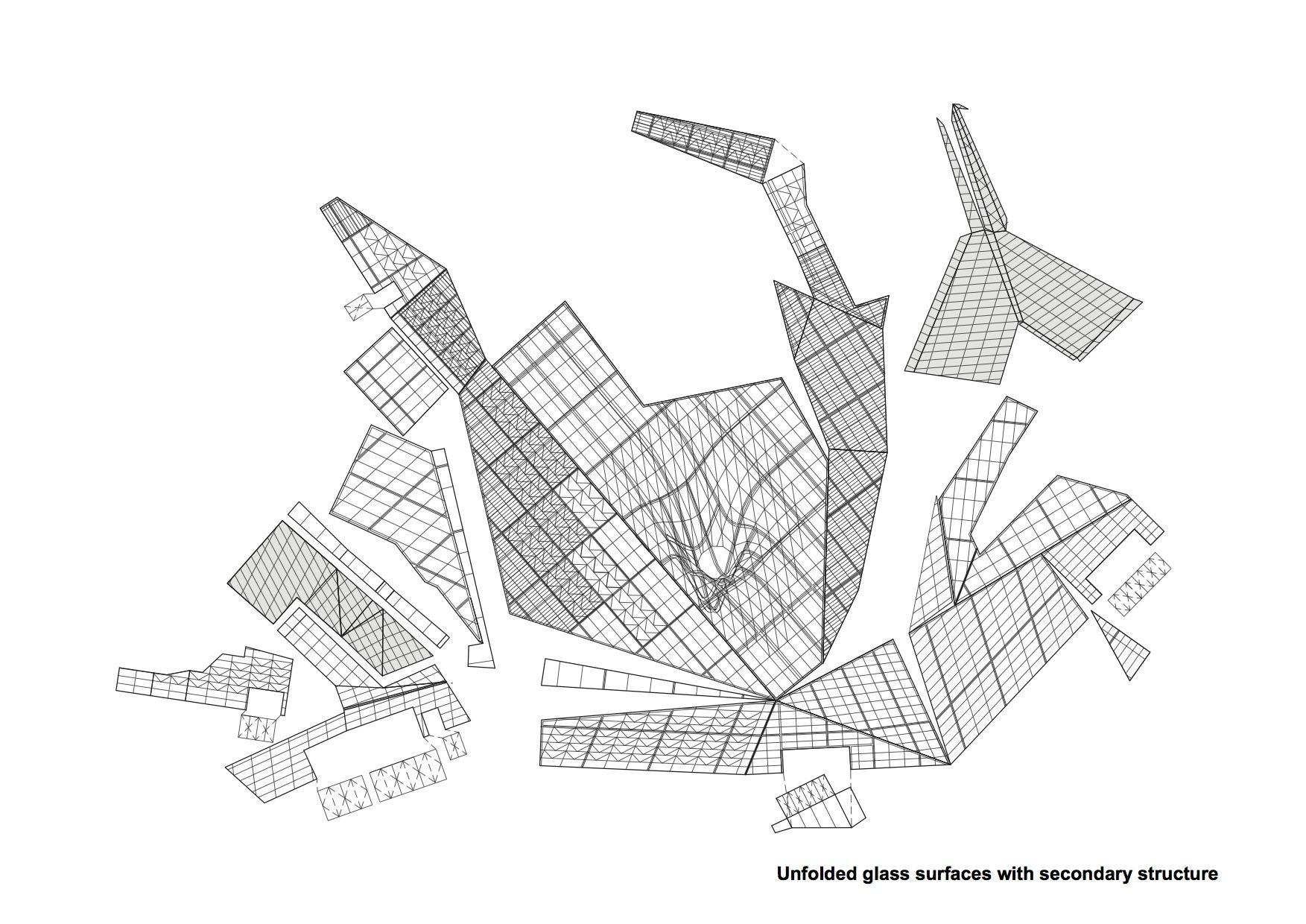 Struktur. Das Sekundärtragwerk trägt die großen Glaspaneele. Es besteht aus Stahlrohr, die im Raster der Glaspaneele angeordnet sind. Die Verbindung mit dem Primärtragwerk erfolgt durch Streben aus Rohrprofilen, die mit den am Primärtragwerk angeschweißten Platten verschraubt sind.