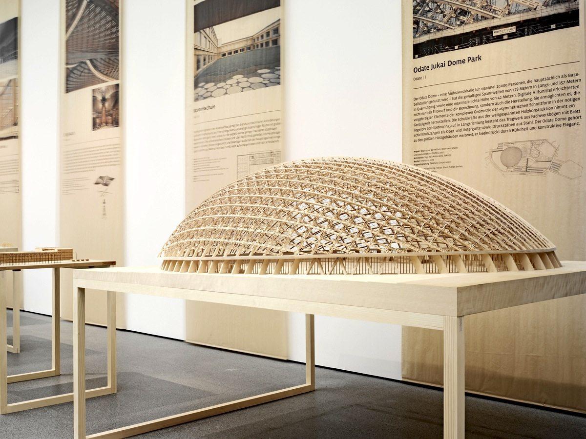 Odate Jukai Dome Park. Modell der Mehrzweckhalle von Toyo Ito, Fertigstellung 1997