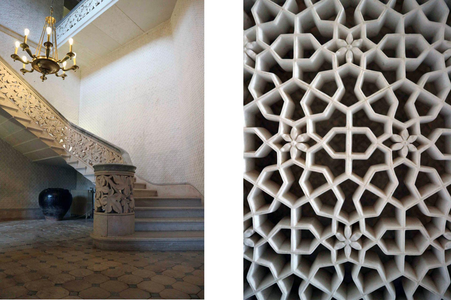 Palácio de Monserrate. Das leicht geschwungene Treppenhaus mit feinem Dekor.