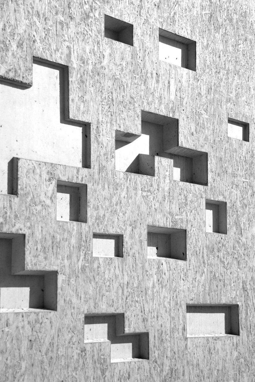 Ausschnitte. Das Lochmuster im Beton bedeutet: Pixel.
