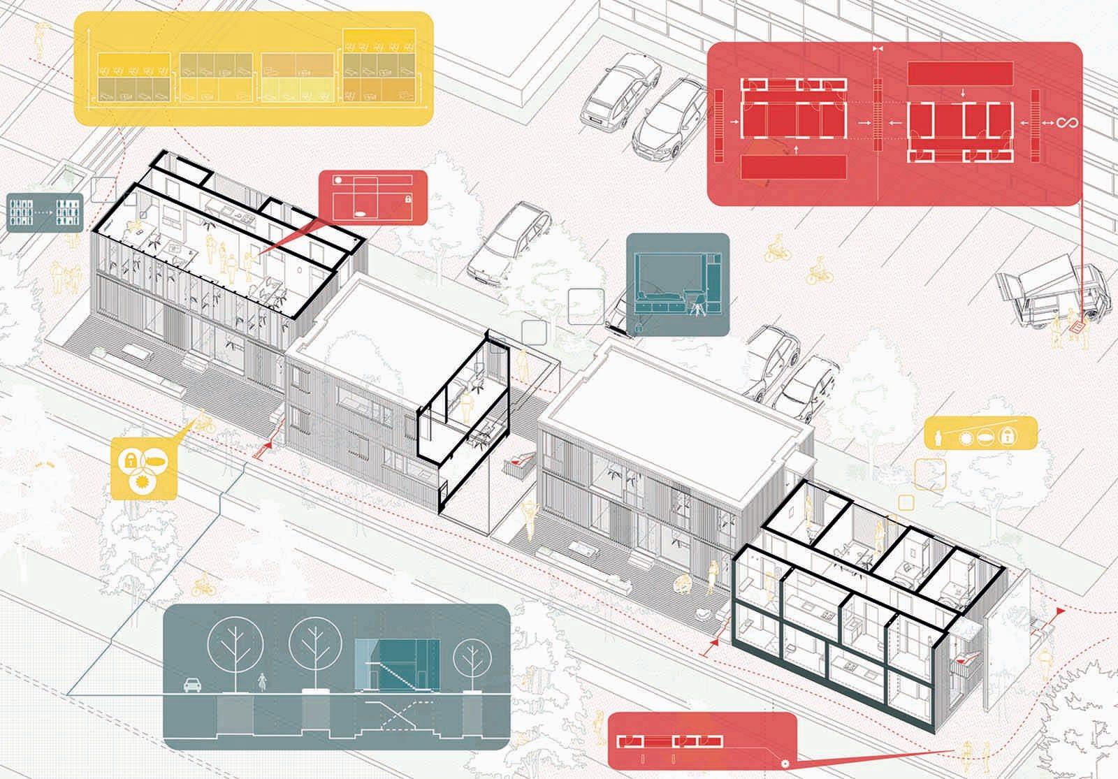 57 Squaremeter House.  Vorschlag von Paul Jakob Bohlen und Mathis Huismans