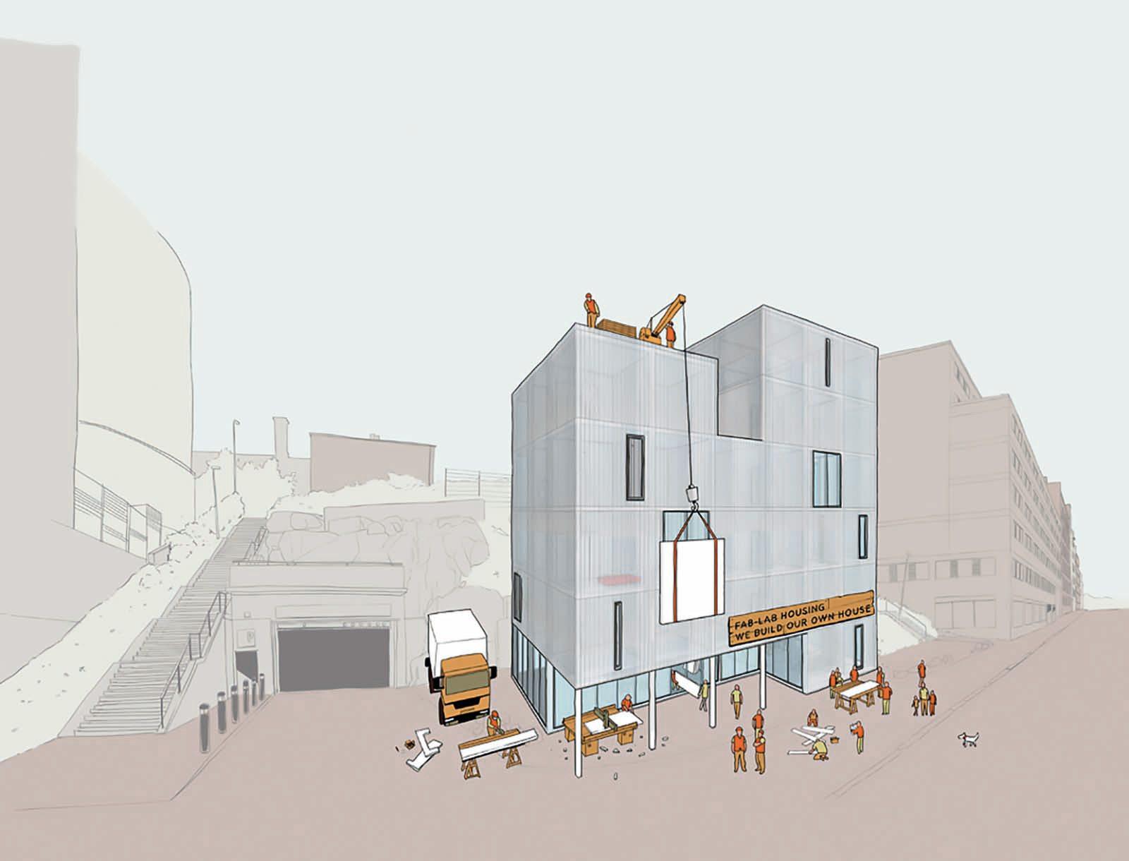 Arrival City 4.0.  Vorschlag von Drexler Guinand Jauslin Architekten, Finnischer Pavillon der Architekturbiennale