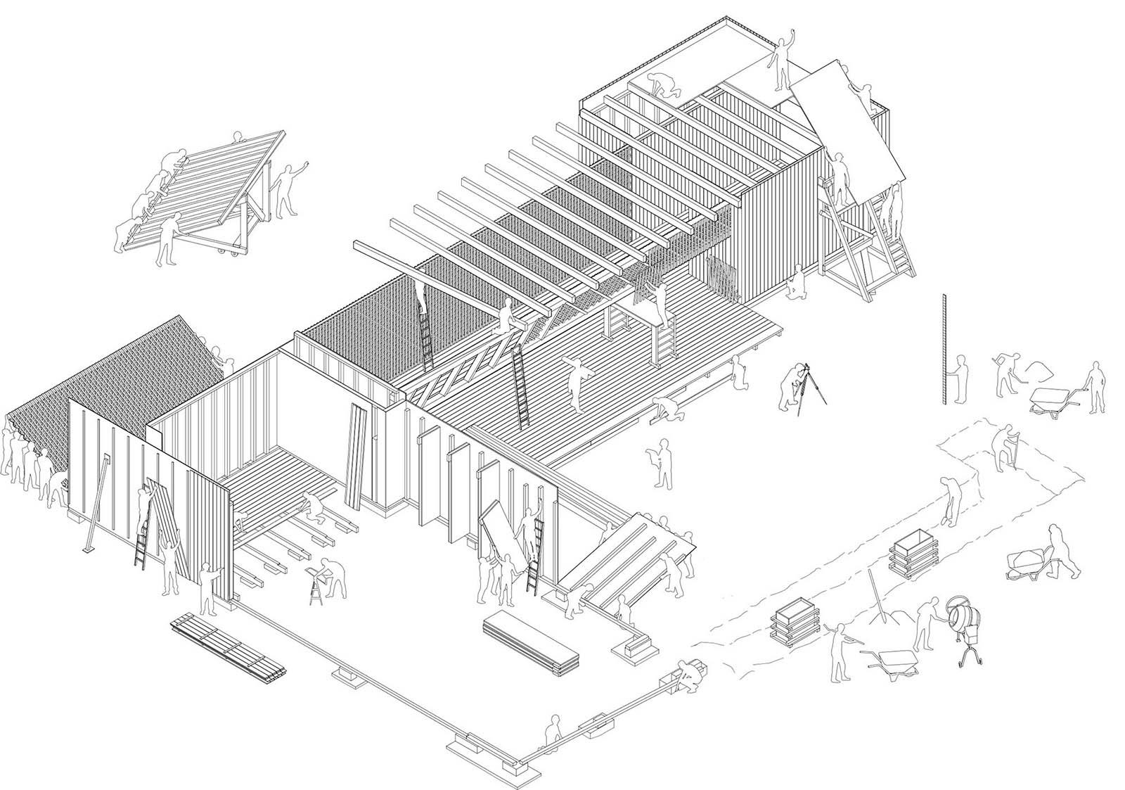 Gemeinschaftshaus Spinelli.  Schema der Arbeitsprozesse auf der Baustelle.
