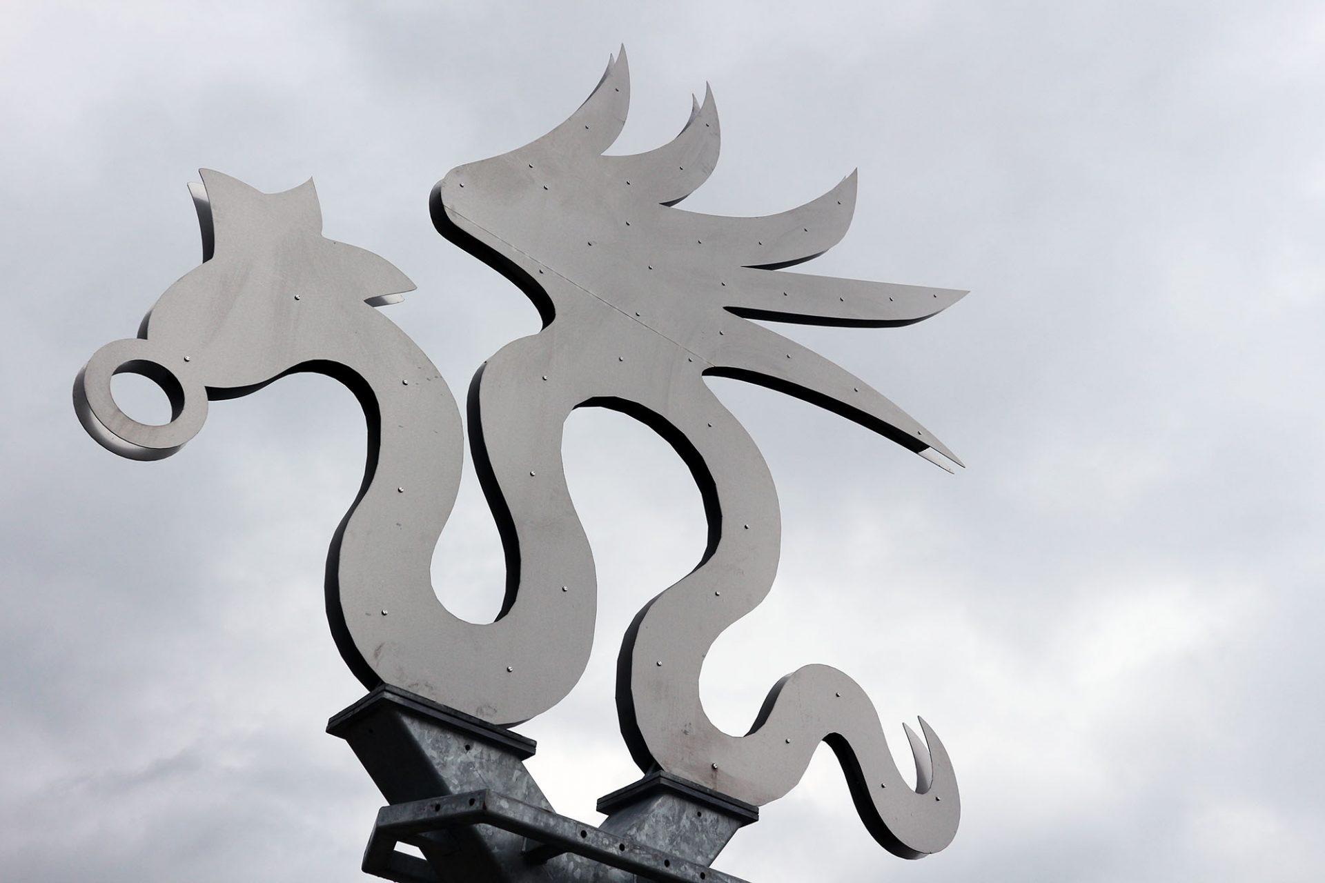 """Geflügelte Schlange. 2015 zelebrierte die Lutherstadt gemeinsam mit Dessau und Wörlitz die Landesausstellung """"Cranach der Jüngere"""" anlässlich seines 500 Geburtstags. Sein mythisch-märchenhaftes Wappentier stand Pate."""