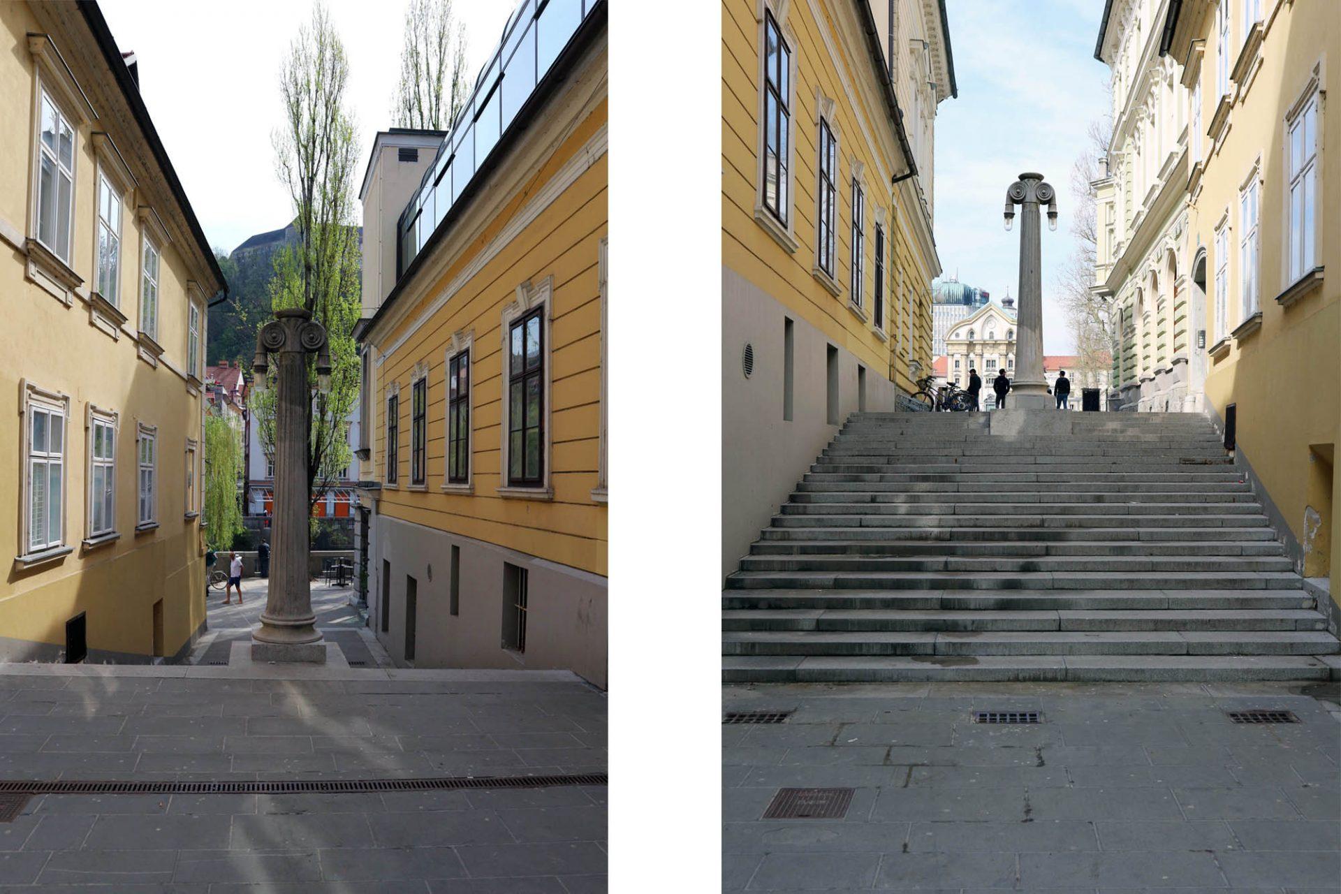 Treppenanlagen.  Neben der Philharmonie führt eine Treppenanlage vom Ufer der Ljubljanica hoch zum Kongressplatz. In Ihrer Mitte mal wieder eine Säule mit Leuchte.