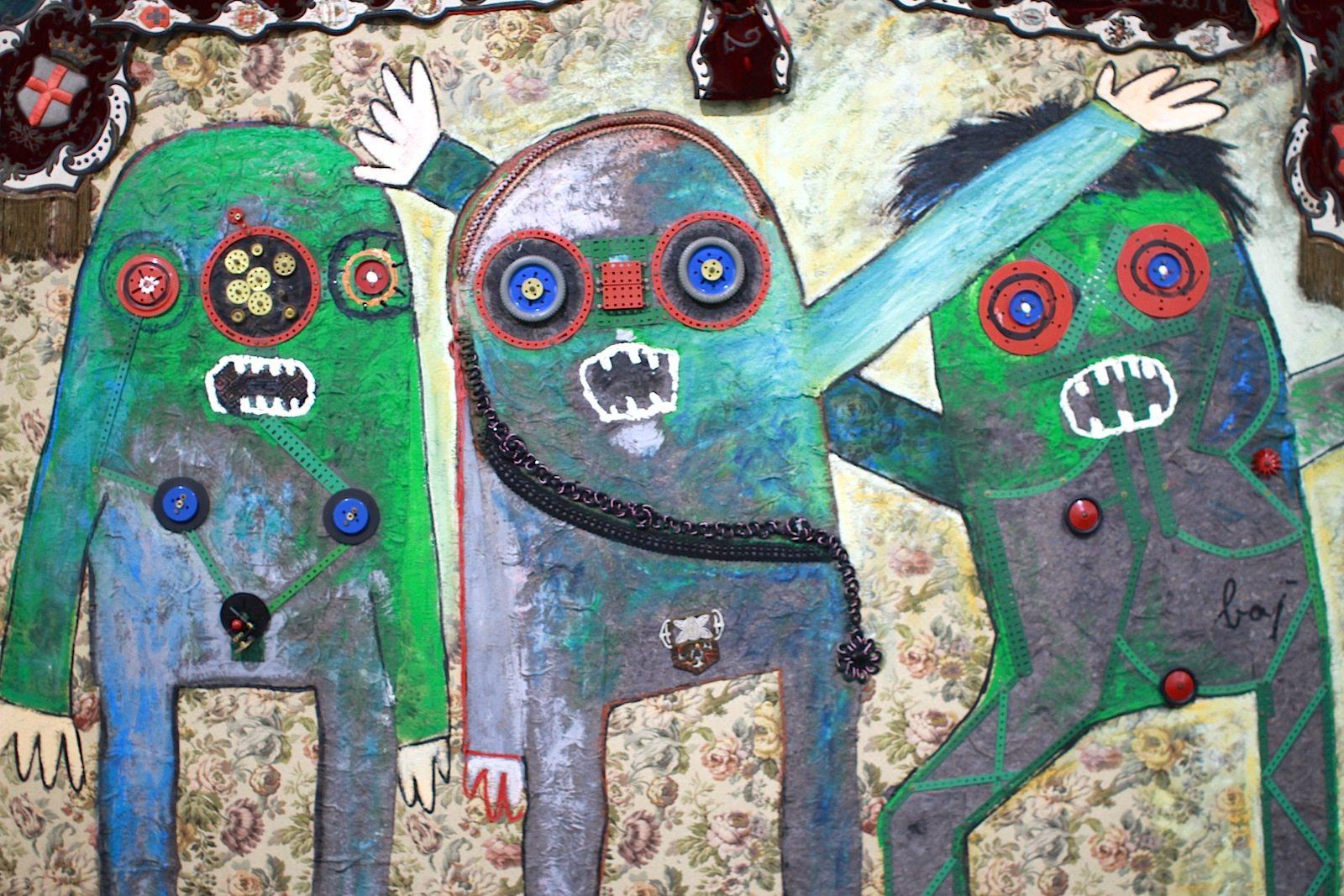 """Museum Boijmans van Beuningen.  The Committee von Enrico Baj aus dem Jahr 1963. Das Bild ist Teil der großartigen """"Mad About Surrealism"""" (11.2–28.5.2017) mit Werken von Salvador Dalí, Max Ernst, René Magritte and Joan Miró. In mehr als 300 Werken wird die Kraft und die Faszination des Surrealismus gezeigt. Zum Teil sehr gaga und sehr erleuchtend –lohnt sich!"""