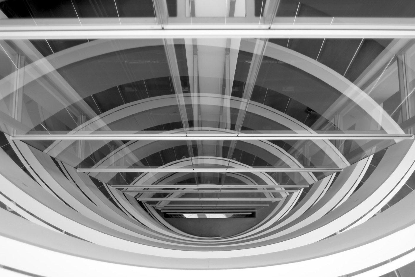 ARoS.  Der charakteristische Treppenturm im Kunstmuseum, entworfen vom Aarhuser Büro Schmidt Hammer Lassen.