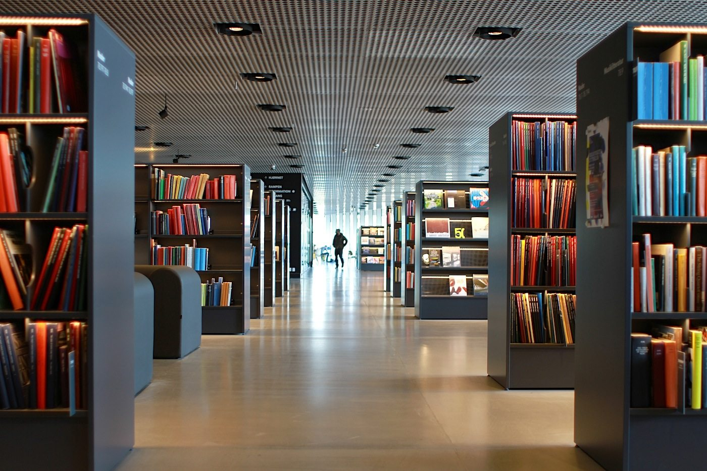 Bibliothek. Das Dokk1 ist unter anderem Bürgeramt, Bürogebäude und beherbergt die größte Bibliothek Skandinaviens.
