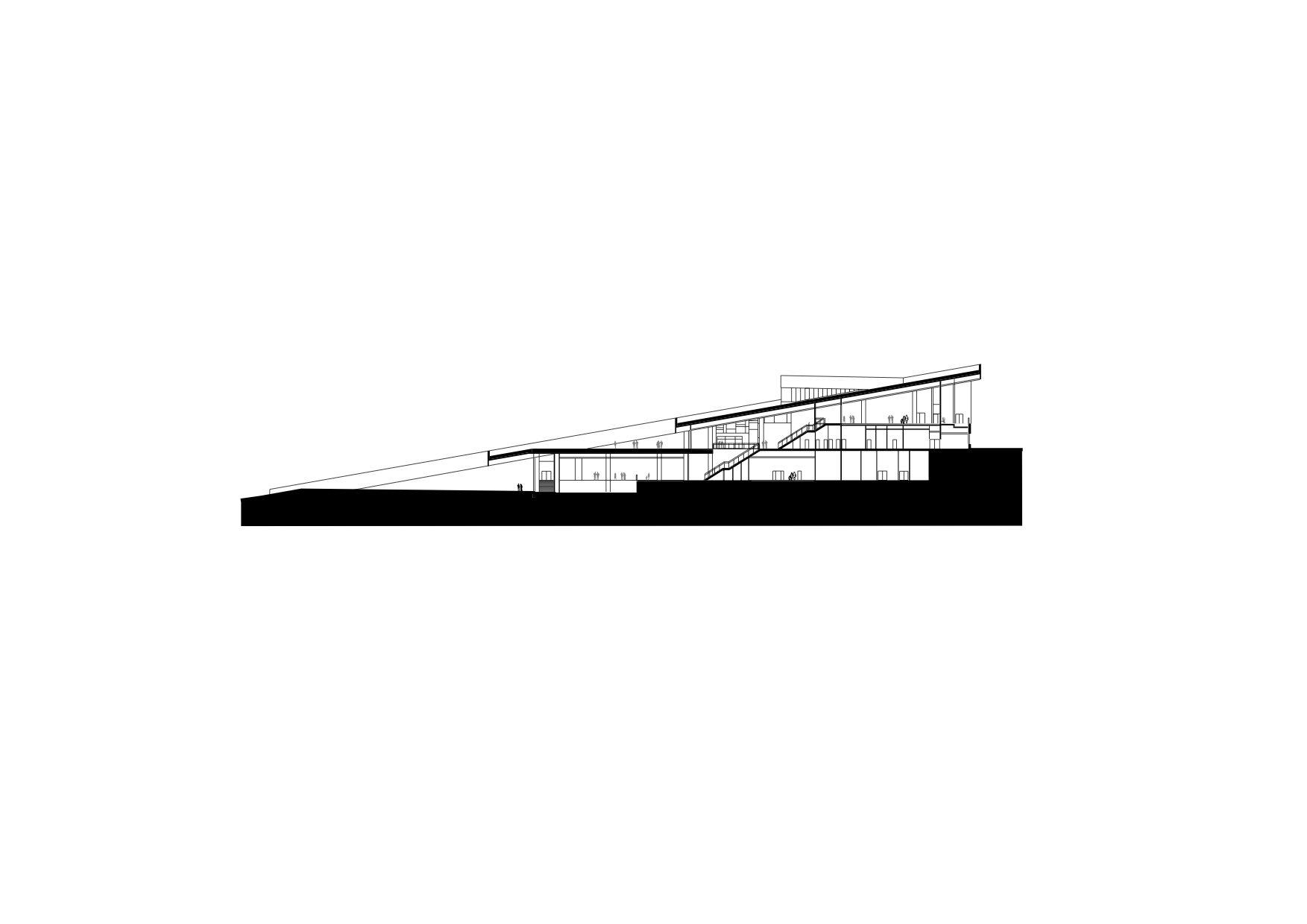 Schnitt. Hier wird deutlich, dass der Bau sich durch die Einbettung in den Hang einerseits zurücknimmt, andererseits aber ein Gebäude mit über 10 Meter Höhe ist und sich als markante Architektur mit 16.000 Quadratmeter Nutzfläche artikuliert.