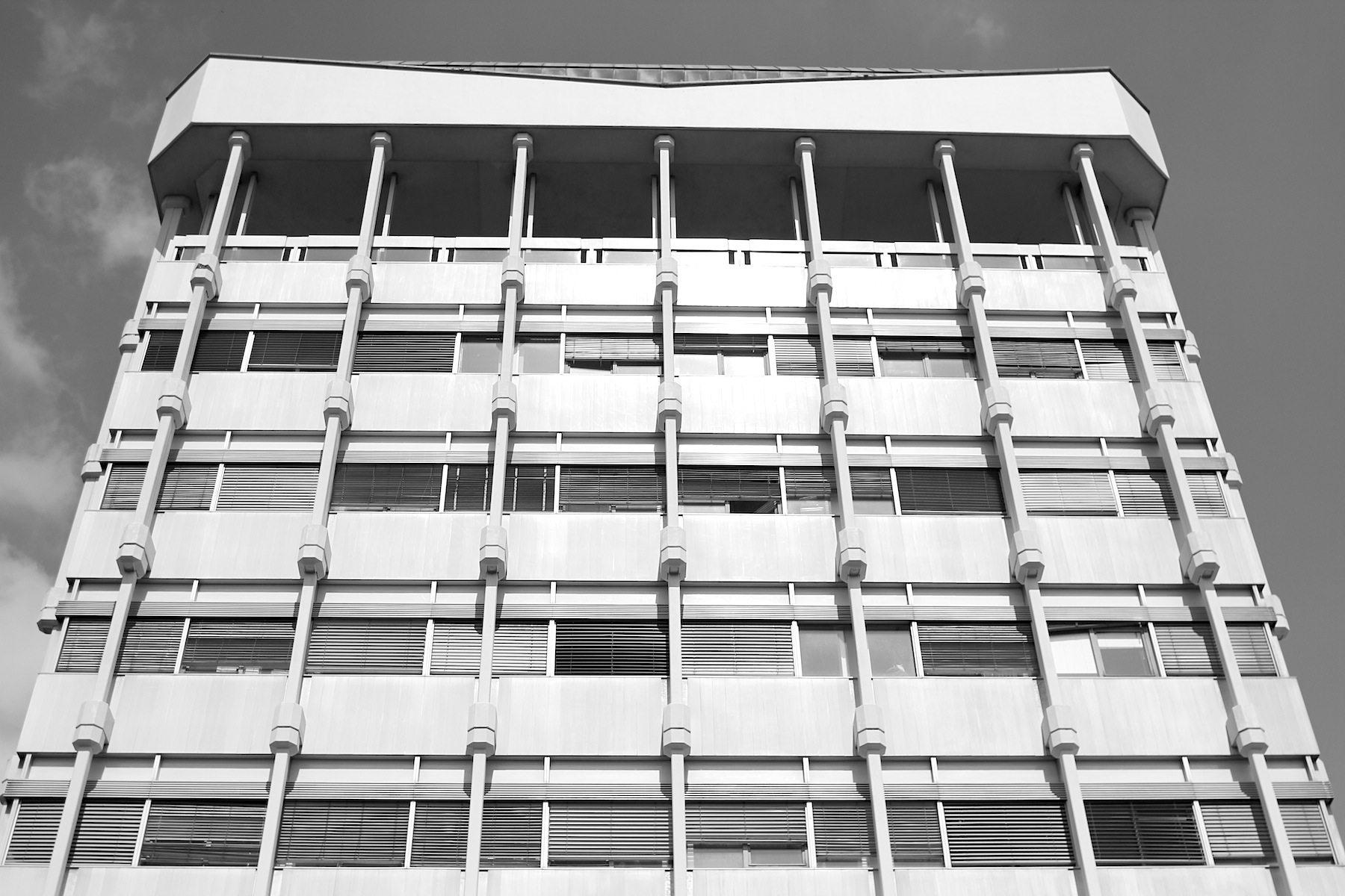 """Rathaus Marl. """"Eines der erregendsten Vorgänge auf dem Gebiet des Städtebaus unserer Zeit"""", so das Urteil der Fachzeitschrift Architektur und Wohnform."""