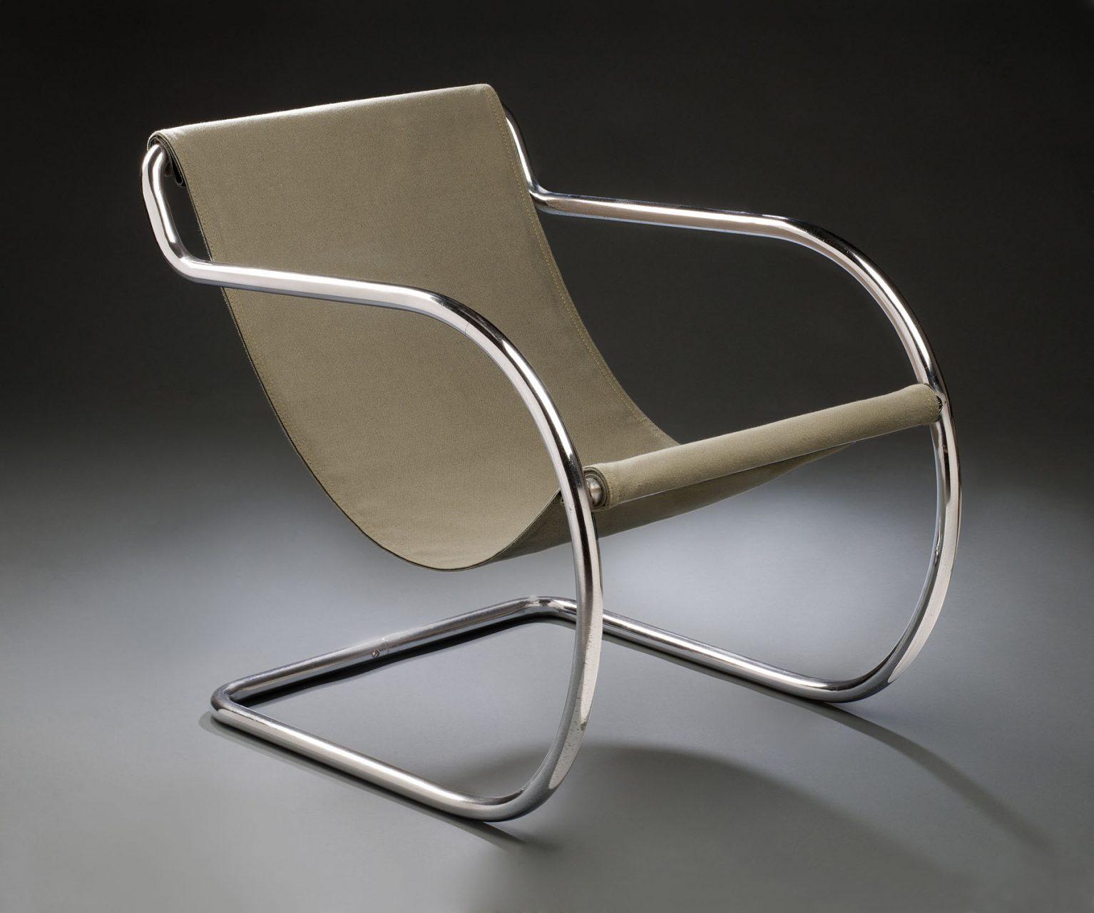 Philip Johnson mit Alfred Clauss.  Sessel, 1932, Verchromtes Stahlrohr, Leinwand, Unbekannter New Yorker Hersteller