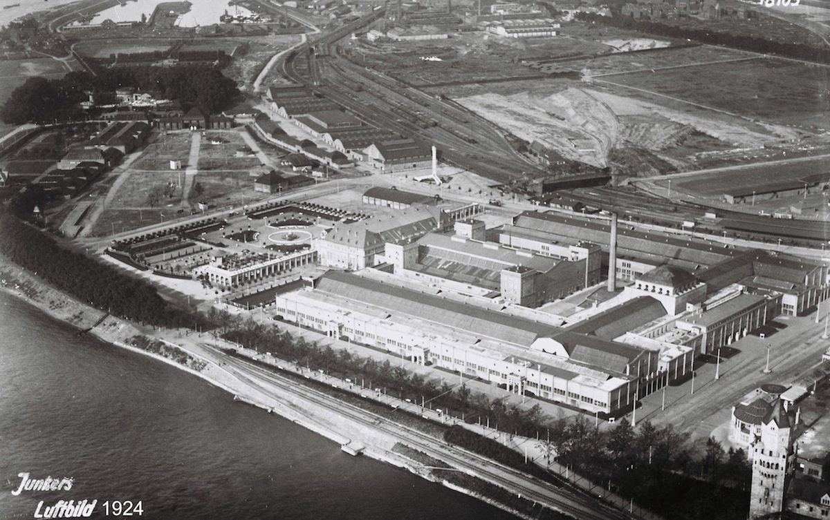 "Aerial view.  of the trade fair halls, called ""Mr. Adenauer's stables"""