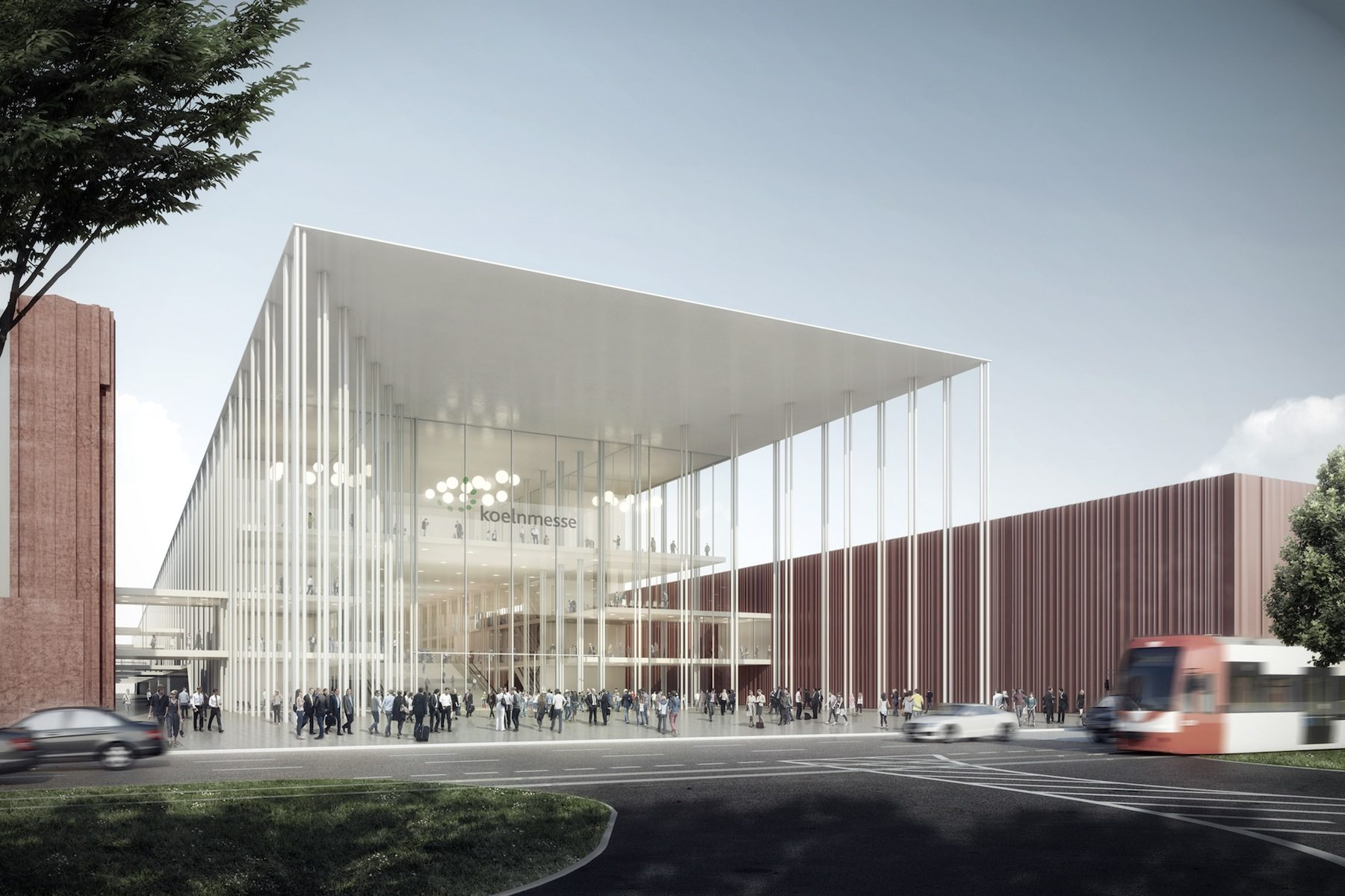 Winning design by JSWD Architekten, Cologne.  Architects' competition for Koelnmesse 3.0, draft Entrance East