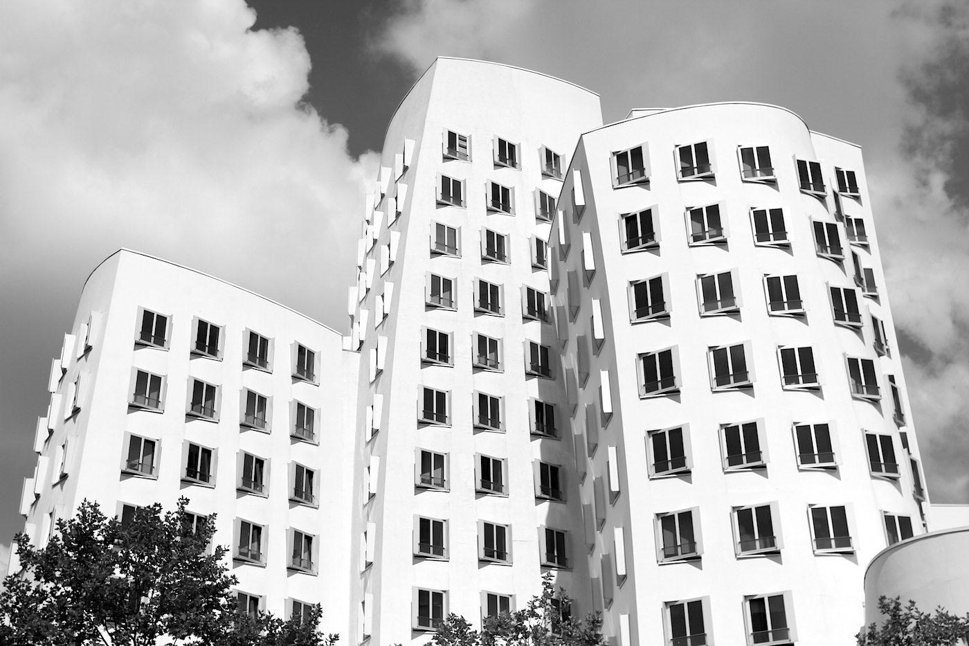 Neuer Zollhof 1–3.  World-famous 1990s architectural masterpiece and deconstructivist design.