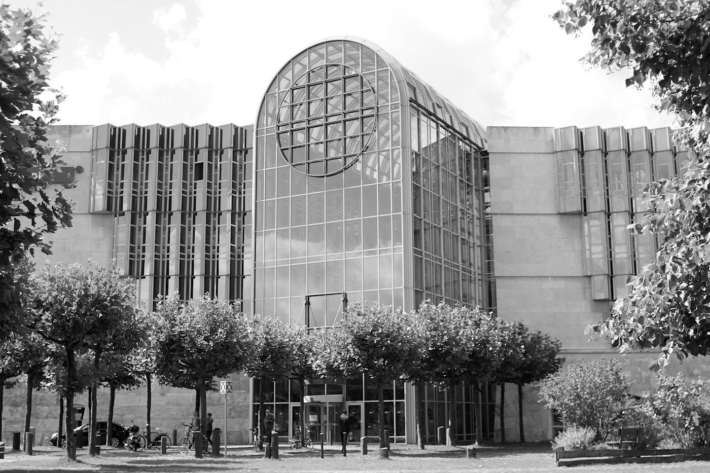 Westdeutscher Rundfunk, broadcasting centre.  The hall resembles a radio receiver.