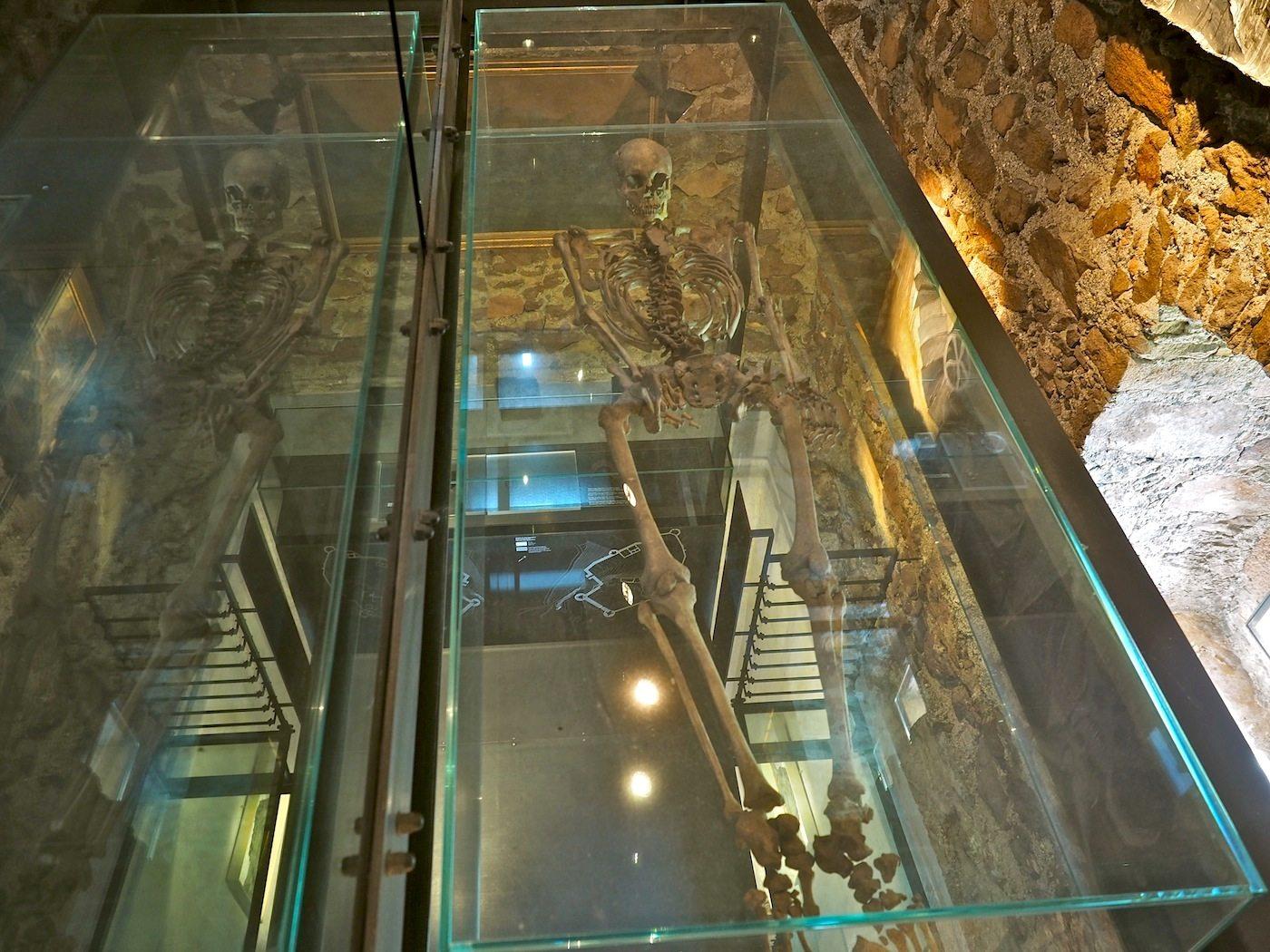 Archäologischer Fund.. Entdeckt bei Ausgrabungen im Gelände der Burg haben die 7000 Jahre alten Knochen einer Frau ihren Platz im Weißen Turm gefunden, dessen Exponate sich der Geschichte von Sigmunskron widmen. Für diesen Teil der Ausstellungen ist Messner nicht zuständig.