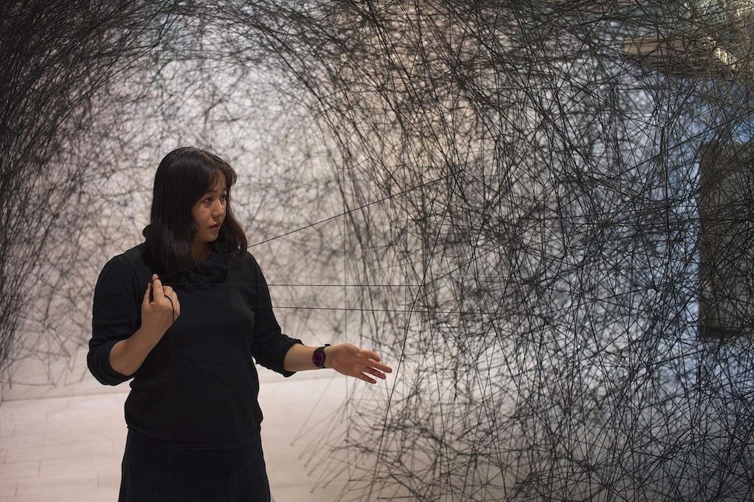 Chiharu Shiota.  has been living and working in Berlin since 1996.