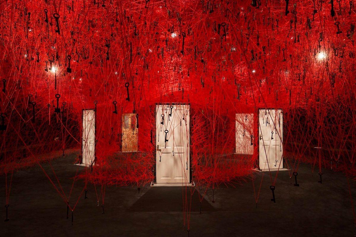 The Locked Room, 2016. KAAT Kanagawa Arts Theatre, Yokohama, Japan. Installation, old Keys, old wooden doors, red wool
