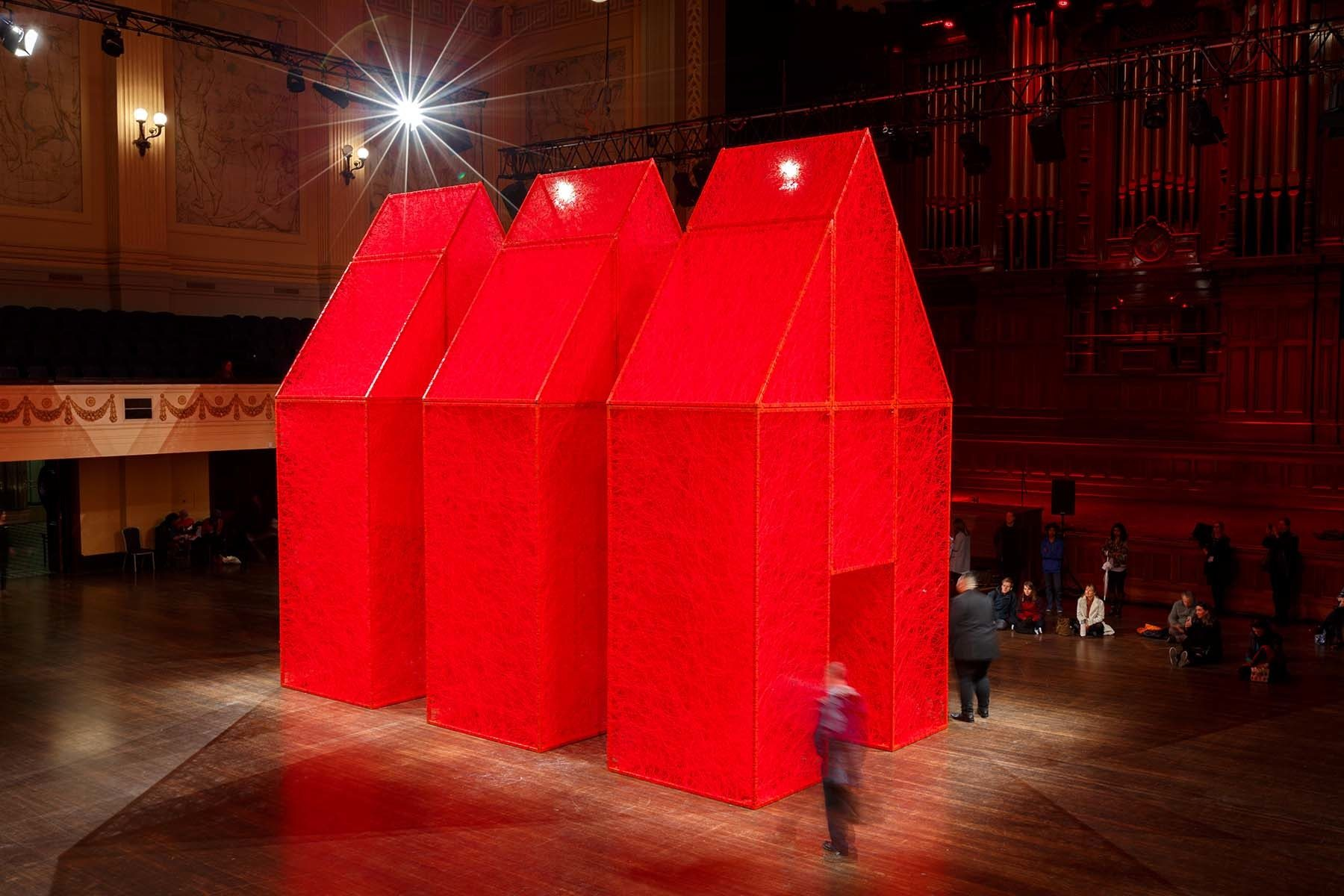 The Home Within, 2016. Melbourne Festival, Australia. Installation, metal frames, red wool