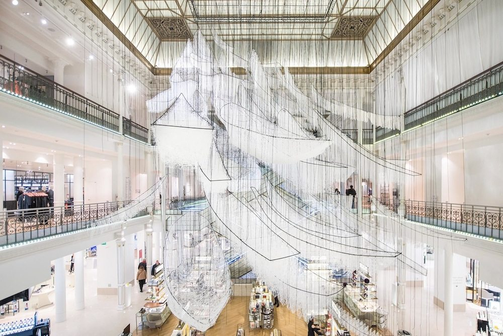 Where are we going, 2017.  Le Bon Marché, Paris, France. Installation, white wool, wires