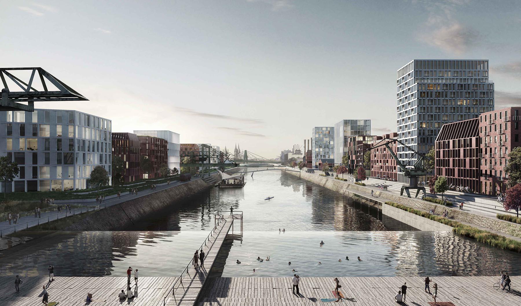 Deutzer Hafen. Im Sommer 2017 präsentierte das Kopenhagener Büro COBE in Kooperation mit Ramboll Studio Dreiseitl (Überlingen), Transsolar (Stuttgart) und knp.bauphysik (Köln) und mit Beteiligung der Bürgerschaft den Entwurf.