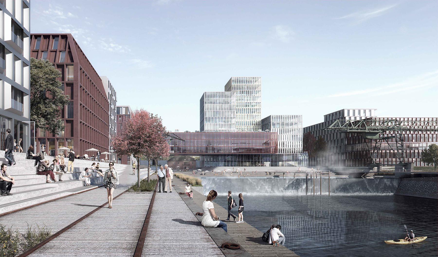 Deutzer Hafen.  Die Idee der Verantwortlichen: ein neues, lebendiges Kölner Veedel, das ein Sprungbett in die Zukunft darstellt und wo die Vergangenheit spürbar bleiben soll.