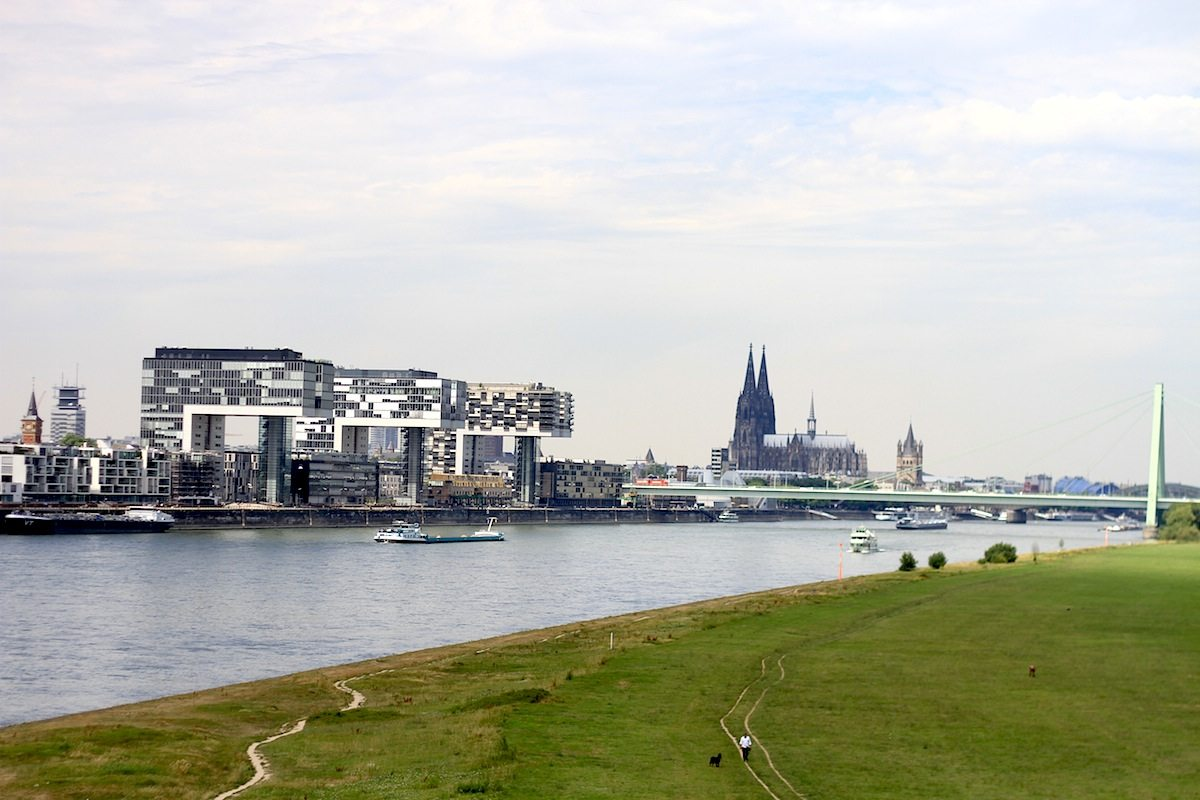 Rheinauhafen with Cologne's skyline. The large architectural gesture on the river