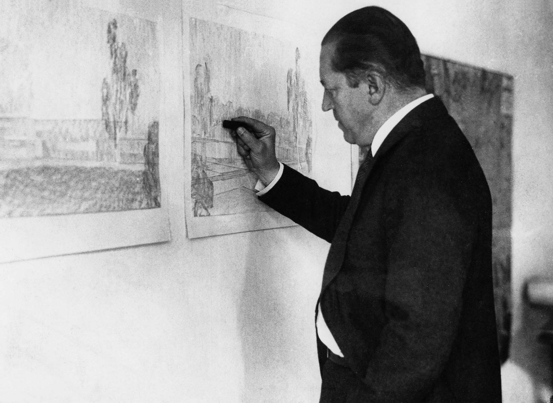 Mies van der Rohe. Bei der Arbeit an Haus Esters um 1927/28