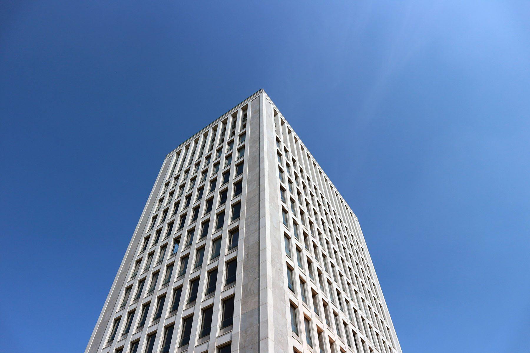 Gerlingviertel. Der 55 Meter hohe Turm im Gerling-Quartier