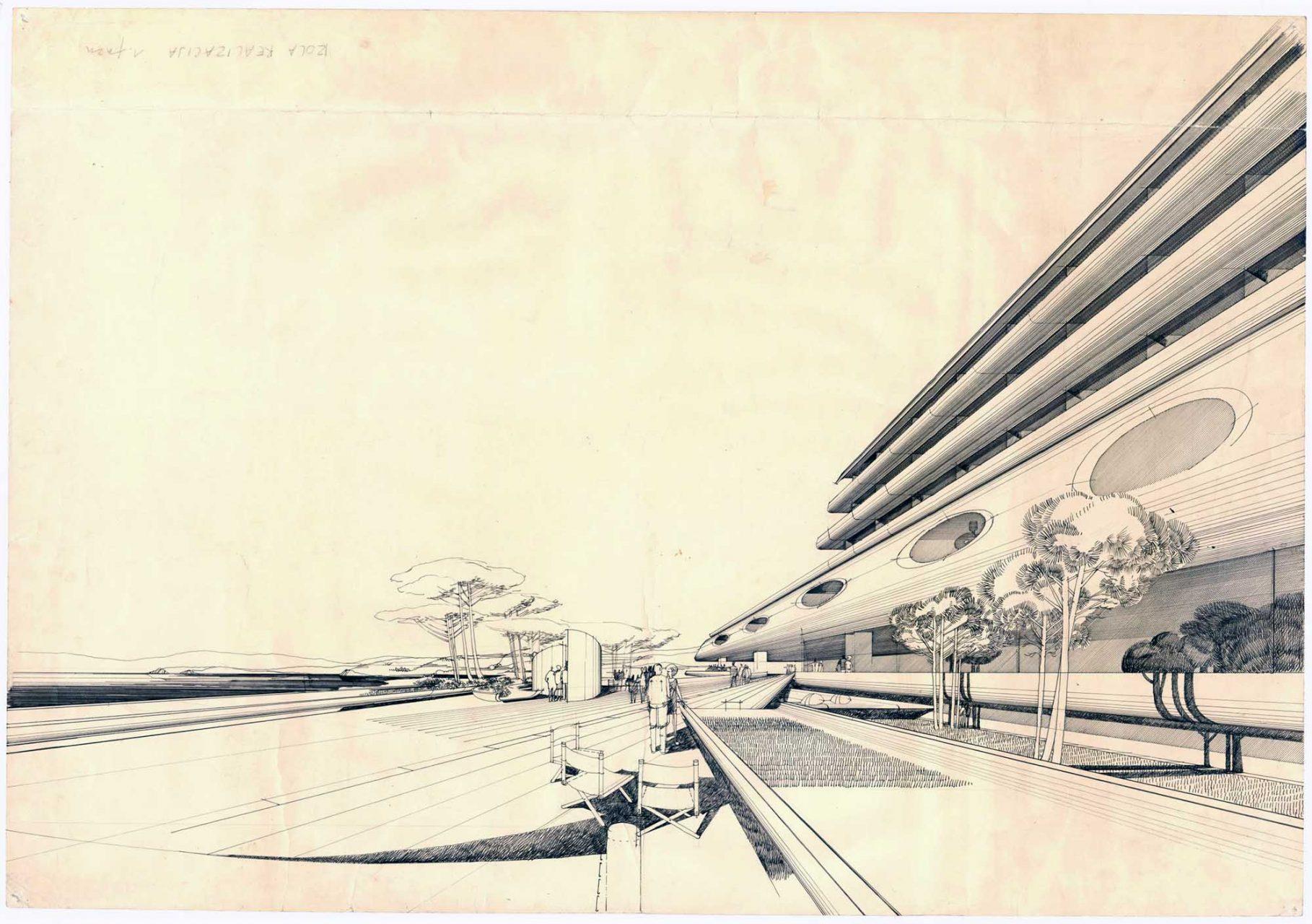 """""""Stanko Kristl, Architect – Humanity and Space"""". Krankenhaus in Izola, Zeichnung von Stanko Kristl"""