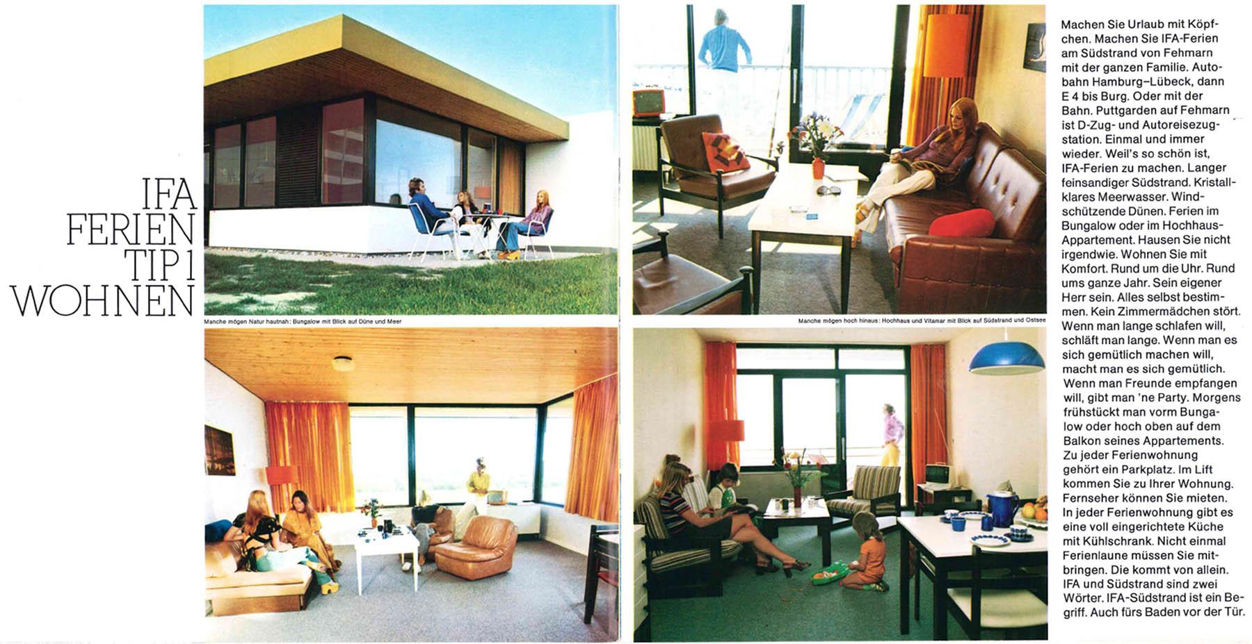 Bungalows und Zimmer. Die Einrichtung nach Fertigstellung des Ferienzentrums