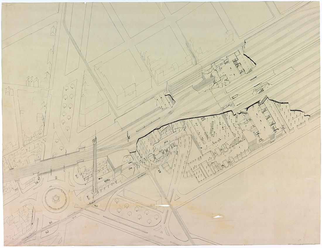 Gare du Midi. Axonometrische Darstellung des Bahnhofsentwurfs von Lucien de Vestel (1902–1967), 1936