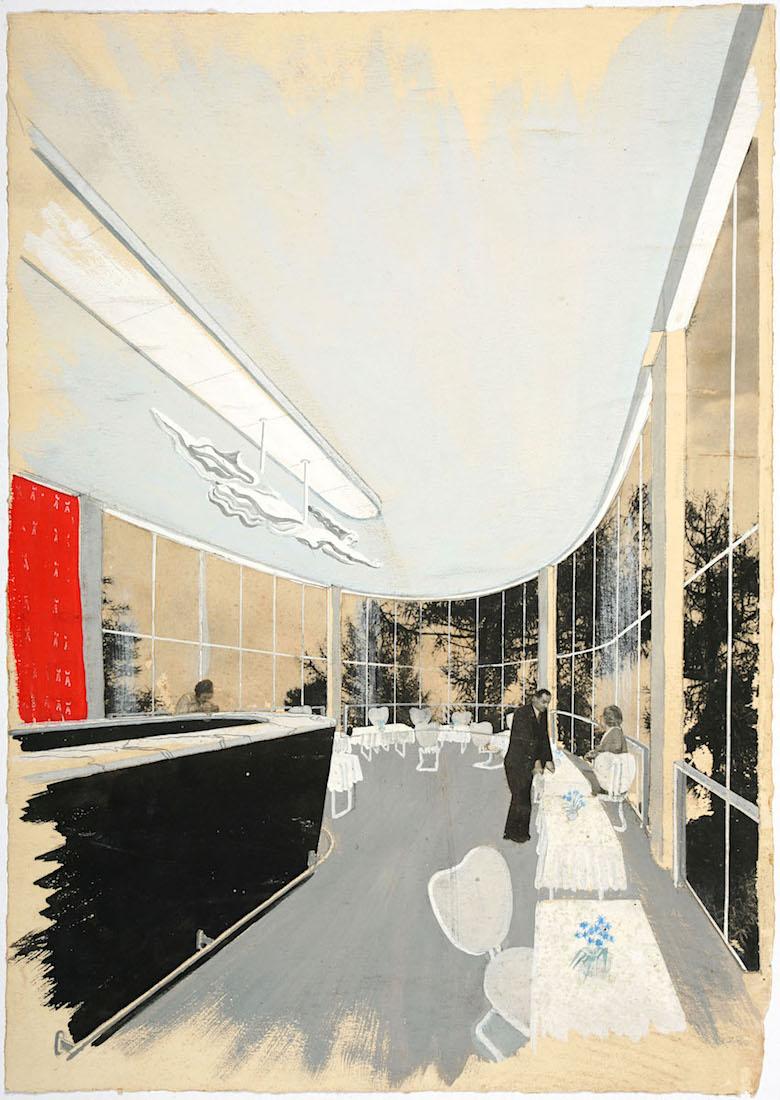 Bibliothek Albert I., Restaurant. Zeichnung von Renaat Braem (1910–2001) und Arthur Smte, 1938