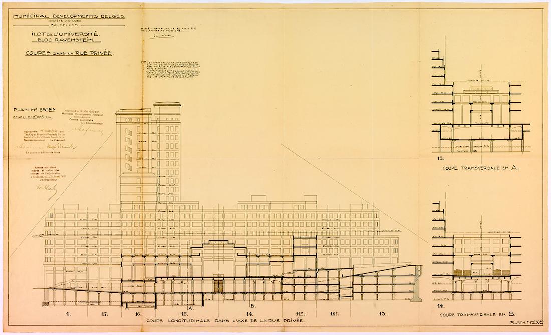 Längsschnitt. von Victor Horta (1861–1947), 1929. Zu sehen ist auch die künftige Ravenstein-Galerie im Zentrum von Brüssel.