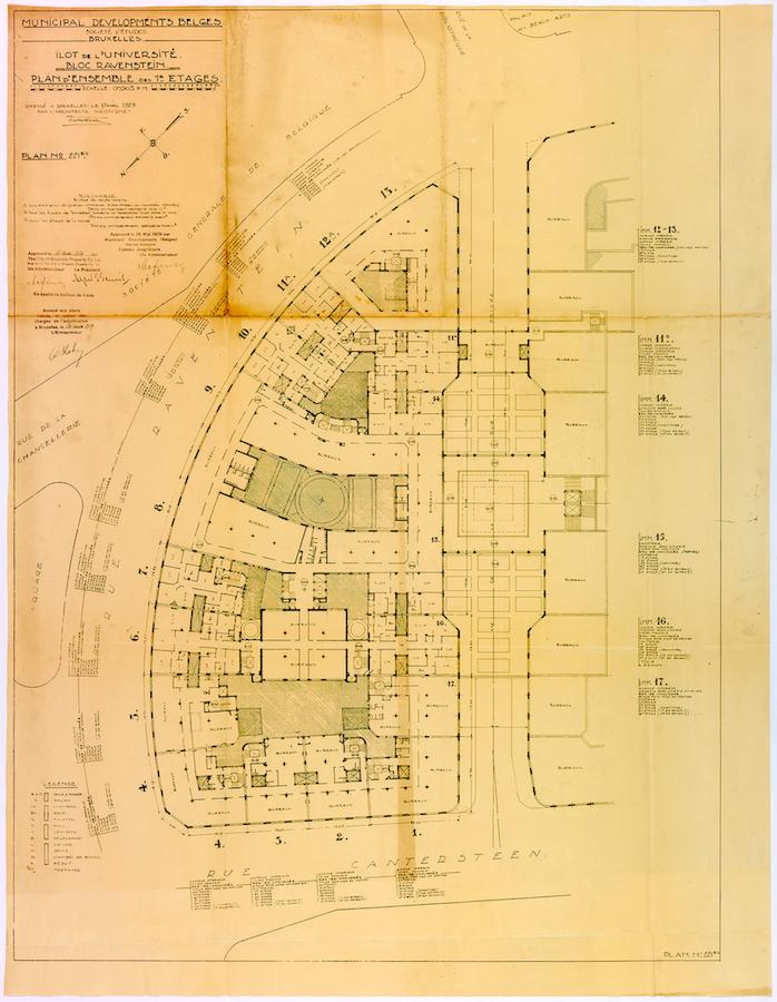 Übersichtsplan. des nördlichen Teils der Universität in Brüssel von Victor Horta, 1929