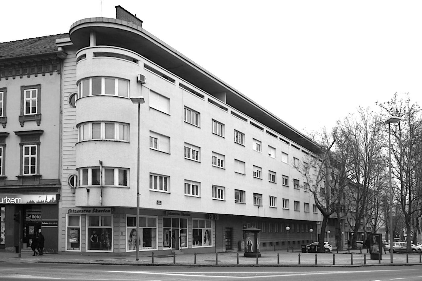 Moderne. Wohn- und Geschäftshaus von Saša Dev, Fertigstellung: 1940.