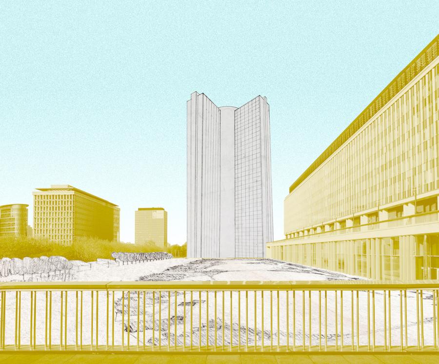 Unbuilt Cite Administrative. Kollage mit dem Verwaltungszentrum von Jacques Van Maldergem und René Péchère, 1960, eingebettet in das heutige Brüssel.