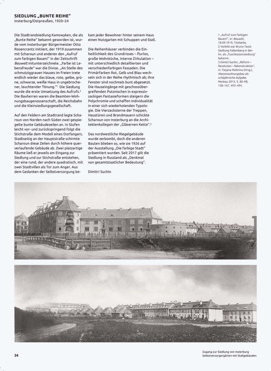"""Hans Scharoun – Bauten und Projekte. Siedlung """"Bunte Reihe"""" in Insterburg, Ostpreußen (1920–1924)"""