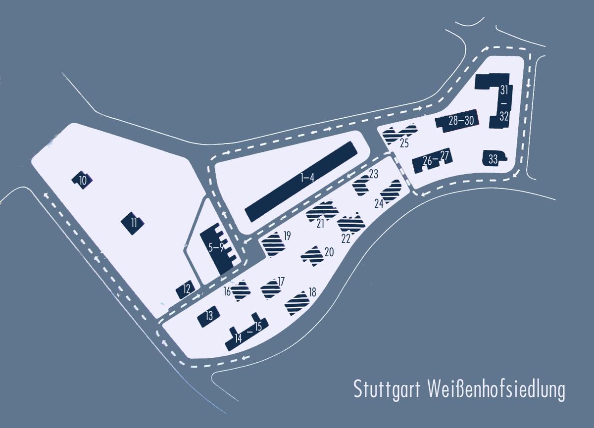 Plan Weissenhofsiedlung: dunkelblaue Gebäude bestehen noch, schraffierte sind zerstört. 1–4: Mies van der Rohe. 5–9 : J.J.P. Oud. 10: Victor Bourgeois. 11+12: Adolf Gustav Schneck. 13, 14+15: Le Corbusier, Pierre Jeanneret. 16+17: Walter Gropius. 18: Ludwig Hilberseimer. 19: Bruno Taut. 20: Hans Poelzig. 21+22: Richard Döcker. 23+24: Max Taut. 25: Adolf Rading. 26+27: Josef Frank. 28–30: Mart Stam. 31+32: Peter Behrens. 33: Hans Scharoun.