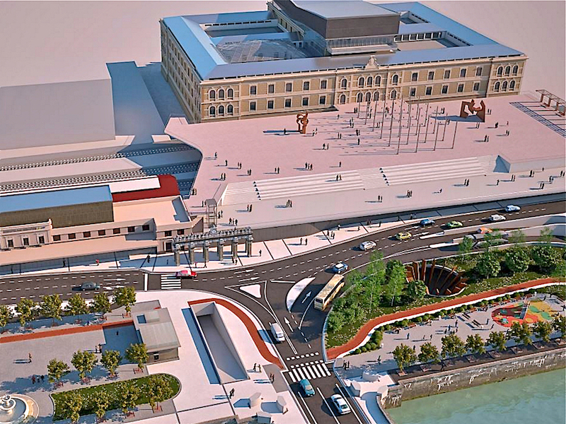 Blick nach vorn.. Bis 2021 soll die Estación del Norte nach einem Entwurf von Jon Montero mit einer Plattform überdacht sein, die sich bis an die Westfassade der Tabakalera heran schiebt. Das Kulturzentrum wird dann auch mit Hochgeschwindigkeitszügen erreichbar sein.