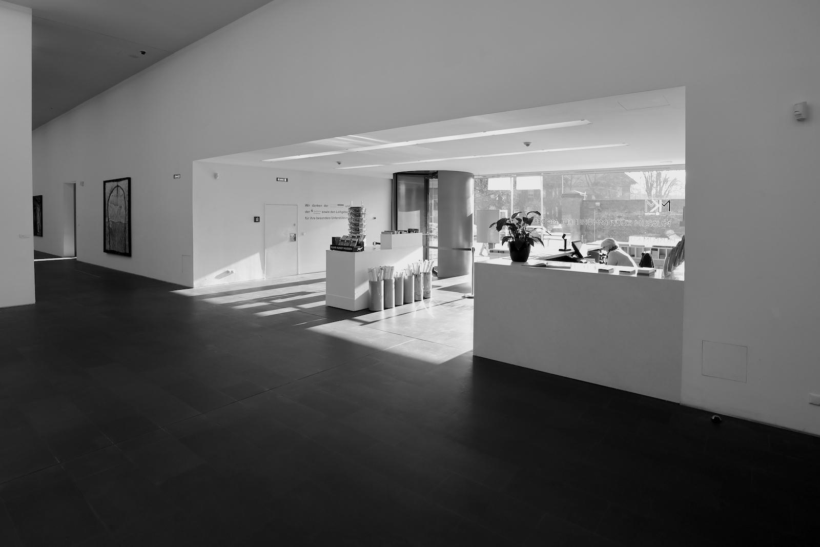 MKM Museum Küppersmühle für Moderne Kunst. Der Eingangsbereich des Museums