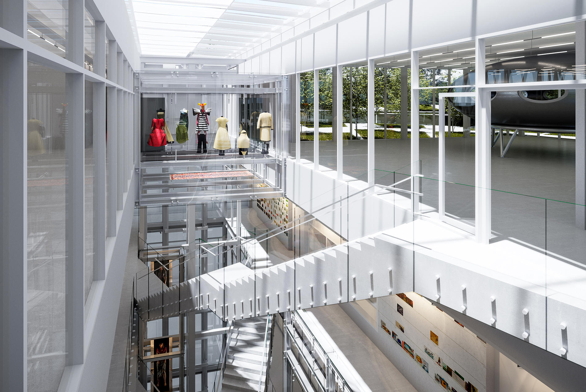 Depot Boijmans Van Beuningen. Eine Simulation des Atriums mit Treppenhaus: In Glasvitrinen werden einzelne Sammlungsstücke präsentiert.