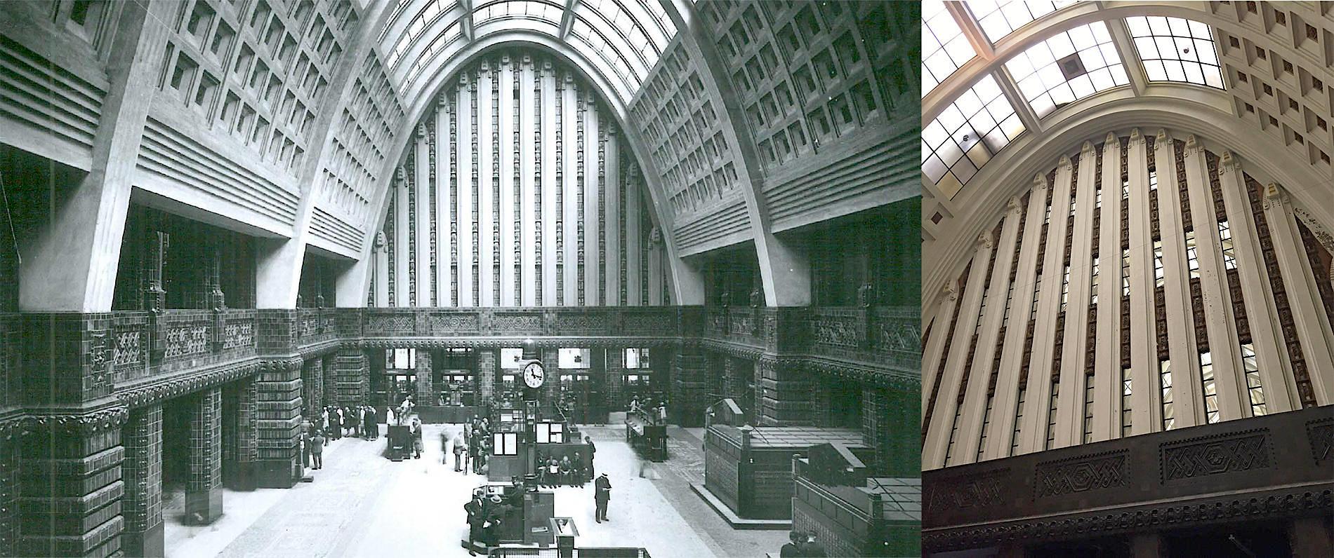 Historische Aufnahme der ehemaligen Schalterhalle. So ist sie erhalten und wird originalgetreu restauriert. Unterstützt wird das New Yorker Architekturbüro ODA vom Den Haager Architekturbüro Braaksma & Roos, das sich auf die Umnutzung historischer Gebäude spezialisiert hat.