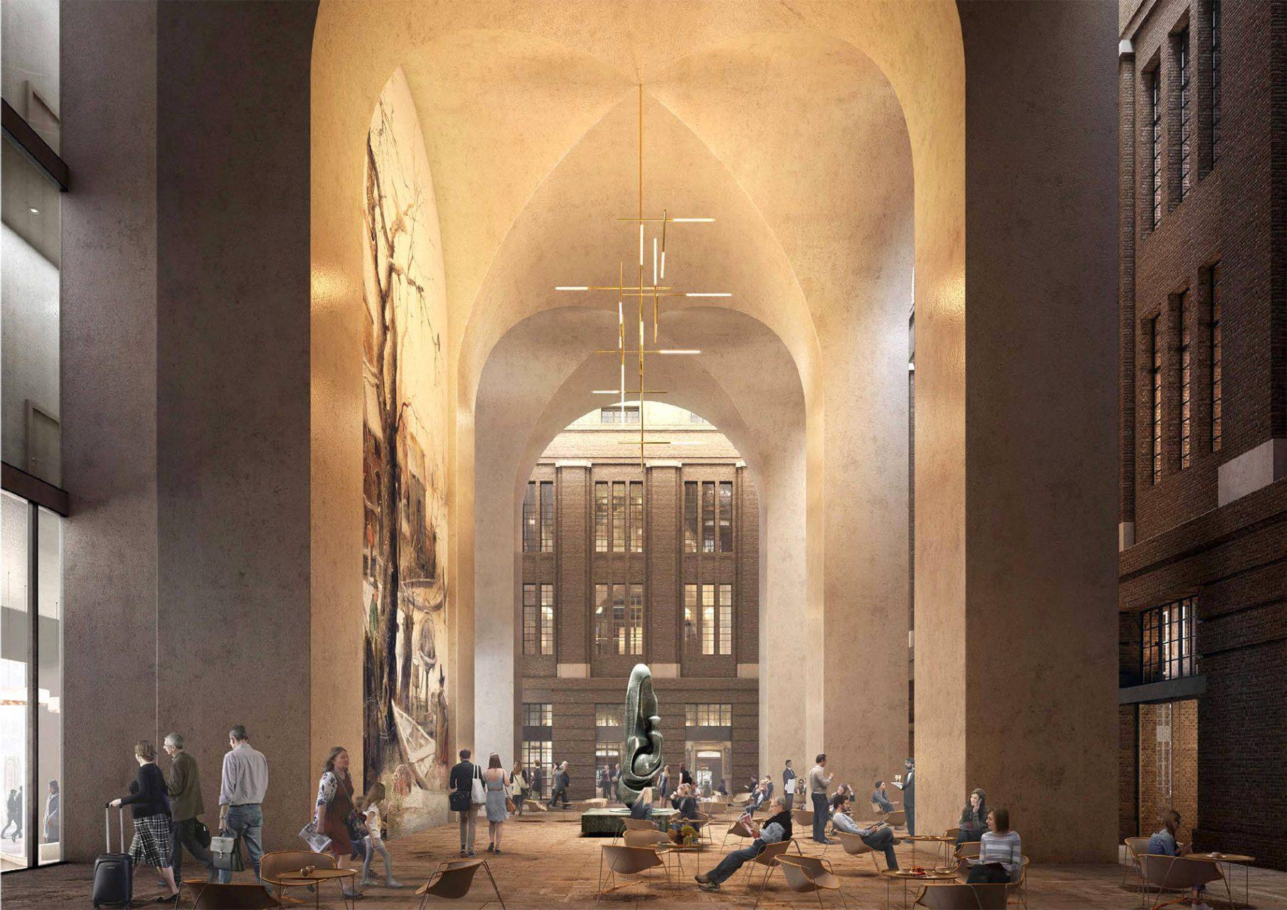 POST. Ziel war es, durch Um- und Neubau der POST in Rotterdams Innenstadt eine neue lebendige Schnittstelle zu schaffen. So werden die ehemalige Schalterhalle und das neue Foyer des Turm für die Öffentlichkeit zugänglich sein und Geschäfte und Cafés beherbergen.