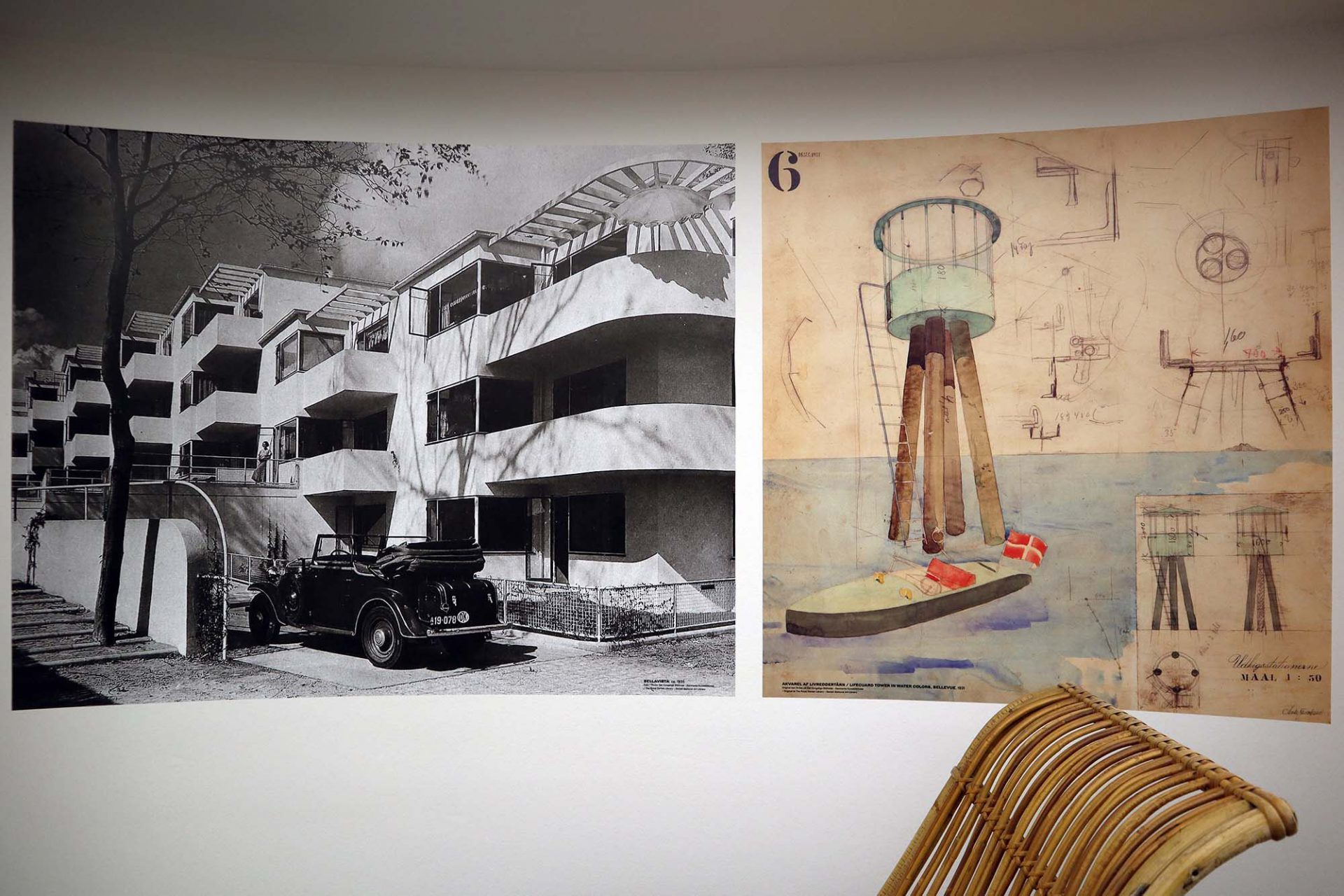 Ästhetik. Das erste Großprojekt von Arne Jacobsen war die Gestaltung des Bellevue Standbads und der Bellavista Wohnanlage. Hier lieferte er Entwürfe für die Architektur, die Innenarchitektur und die gesamte Strandanlage. Zu sehen sind die Bilder im Design Museum von Kopenhagen.