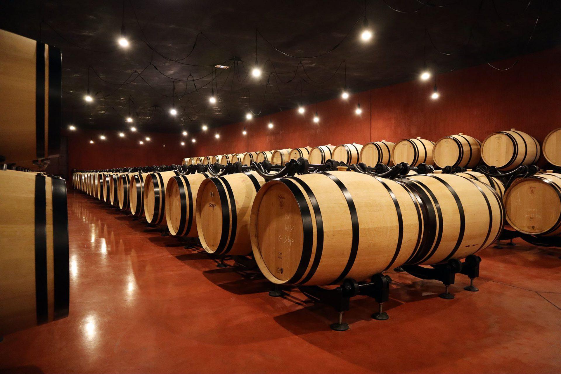 Château La Dominique. Der Weinkeller ist in dunklen Tönen gehalten.
